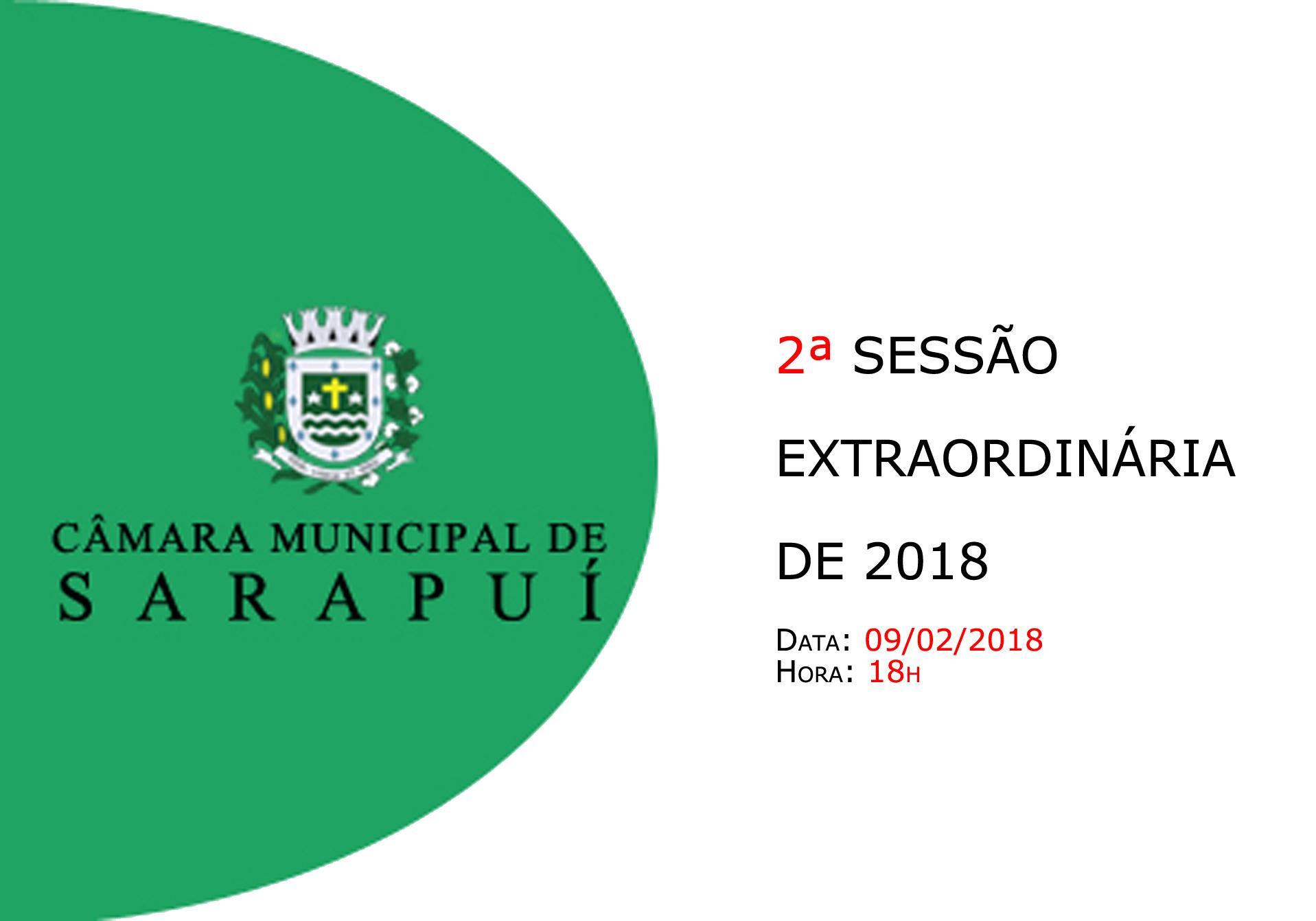 Pauta da 2ª sessão extraordinária de 2018