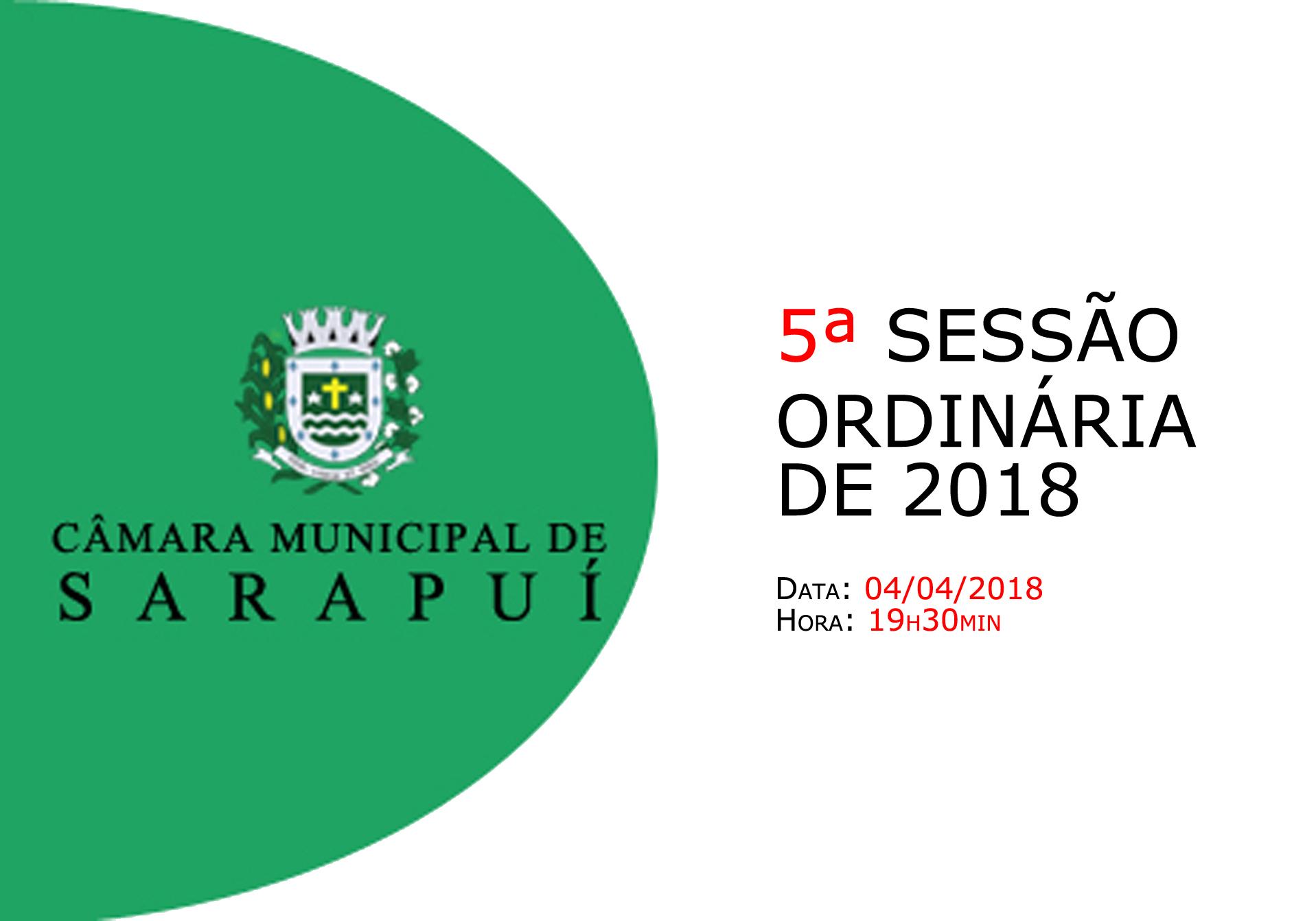Pauta da 5ª sessão ordinária de 2018