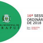 Pauta da 16ª sessão ordinária de 2018