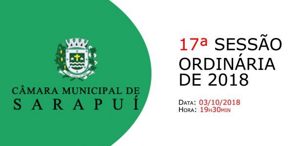 PAUTA DA 17ª SESSÃO ORDINÁRIA DE 2018 Em atenção ao que dispõe o artigo 182 e parágrafo único do Regimento Interno, torna-se pública a Pauta da 17ª Sessão Ordinária do […]
