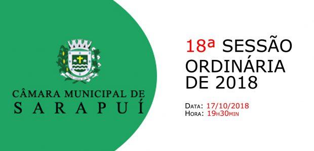 PAUTA DA 18ª SESSÃO ORDINÁRIA DE 2018 Em atenção ao que dispõe o artigo 182 e parágrafo único do Regimento Interno, torna-se pública a Pauta da 18ª Sessão Ordinária do […]