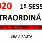 Pauta da 1ª Sessão extraordinária de 2020