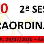 Pauta da 2ª sessão extraordinária de 2020