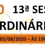 Pauta da 13ª sessão ordinária de 2020