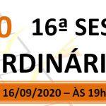 Pauta da 16ª sessão ordinária de 2020