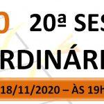 Pauta da 20ª sessão ordinária de 2020