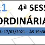 Pauta da 4° Sessão Ordinária 2021