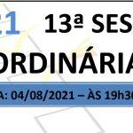 Pauta da 13ª sessão ordinária de 2021